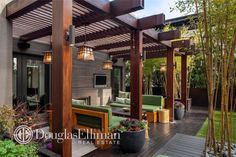 Contemporary Deck with Trellis, Dolan Designs Hanging Mission /Mackintosh winchester 1-light Outdoor Pendant, Wood pergola