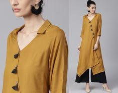 12 Latest Kurti Neck Designs Ideas and Patterns <br> Latest kurta neck design is what we are going to know about in today's post. Kurtas and kurtis one of the best ethnic and traditional wear of clothing. The ease of wearing and comfort is wha… Salwar Suit Neck Designs, Silk Kurti Designs, Kurta Neck Design, Kurta Designs Women, Kurti Designs Party Wear, Blouse Designs, Kurti Patterns Latest, Kurta Patterns, Latest Kurti Designs