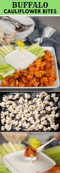 These Buffalo Cauliflower Bites taste so much like traditional chicken wings, bu. These Buffalo Cauliflower Bites taste so much like traditional chicken wings, but are a healthy vegetarian version perfect for a light snack. Veggie Recipes, Appetizer Recipes, Cooking Recipes, Party Appetizers, Chicken Recipes, Light Appetizers, Delicious Appetizers, Recipe Chicken, Garlic Chicken