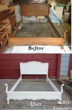 French Provincial full size bed (headboard and footboard) painted a simple clean white before and after pictures. Refinished by Kelly's Creations.  https://www.facebook.com/pages/Kellys-Creations-Refinished-Furniture/524028237619793