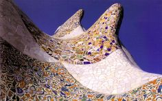 Roof of the porter's pavilion at Park Grüell. Gaudi.  Architecture, mosaic
