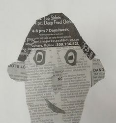 newspaper self-portrait collage: value