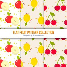 Set of three patterns with colored fruits Free Vector