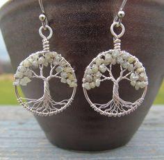 Diamond Tree of Life Earrings Wire Wapped by HomeBabyCrafts, $85.00