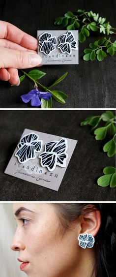 Asymmetrical Hana Blossom Floral Skeleton Studs in Black and White + + + Hand-Painted on reclaimed leather by Scandinazn