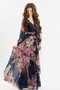 Alicia Navy Floral Maxi Dress