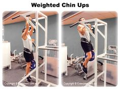 Weighted Chin Ups is an effective compound exercise that builds the lats, rear shoulders, upper back, the biceps, forearms and also engages the core muscles to stabilise the upper body.  Weighted Chin Ups will also develop coordination, balance and mobility.  Watch a demo...https://www.exercises.com.au/weighted-chin-ups/