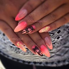 Trendy Nails Art Estive Fluo Ideas Nail art is an innovative way to color, decorate, enhance, and em Perfect Nails, Gorgeous Nails, Love Nails, My Nails, Neon Nails, Vacation Nails, Beach Nails, Trendy Nail Art, Halloween Nails