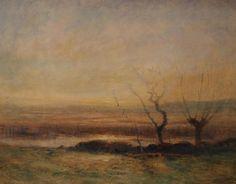 François Auguste RAVIER (1814-1895). Les étangs à Moreste, aquarelle, 22x30 cm, 1884.
