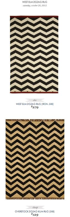 COPY CAT CHIC FIND: WEST ELM ZIGZAG RUG VS OVERSTOCK ZIGZAG KILIM RUG