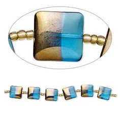 Bead, lampworked glass, turquoise blue with half-gold finish, flat square. Sold per strand. Blue Beads, Turquoise Bracelet, Glass Beads, Cufflinks, Mountain, Gems, Fire, Bracelets, Accessories
