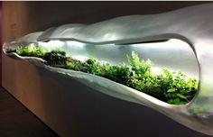 Pflanzgefäss Terrarium Metall Hülle Beleuchtung Ideen Garten zuhause