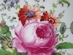 """Large Antique MEISSEN Hand Painted  Platter 16 3/4""""  Floral Motif"""