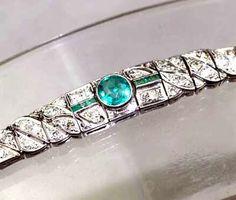 Art Deco Platinum,Diamond and Emerald bracelet