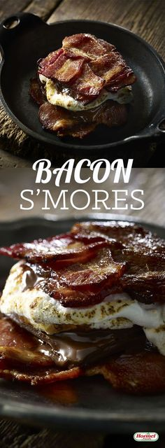 S'mores are a camping favorite, but S'mores with HORMEL® BLACK LABEL® Brown Sugar Bacon are a life favorite. Easy Desserts, Delicious Desserts, Dessert Recipes, Yummy Food, Desserts With Bacon, Health Desserts, Breakfast And Brunch, Bacon Recipes, Cooking Recipes