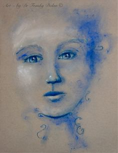 Blue Dust - Matted 11x14 Gallery Print of Original Painting by Fae Factory Fantasy Artist Dr Franky Dolan (Wall Art Print fine art artwork)