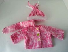 HANDMADE DOLL CLOTHES PINK FLEECE JACKET HAT & SCARF FOR AMERICAN GIRL DOLLS