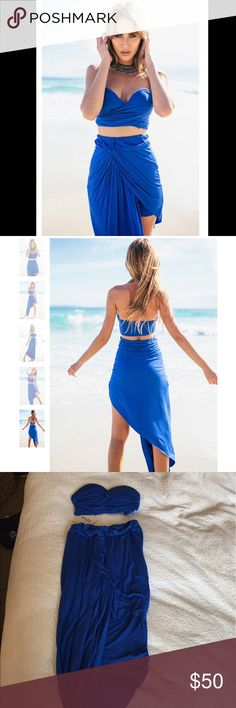 Sabo Skirt Blue 2 piece skirt/top set Gorgeous. Had to post stock photos because it doesn't have hanger appeal or look as good on me. But ordered this and never wore it. Beautiful blue. Would be perfect for a summer event. Both pieces are xs. Sabo Skirt Dresses Strapless