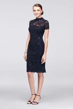 High-Neck Illusion Lace Sheath Dress 649697