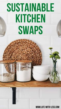 Read about easy ways to make your kitchen more sustainable. Including useful tips and product swaps for a more sustainable kitchen. #kitchen #sustainable #sustainability #cooking #baking #sustainablekitchen #sustainablelifestyle #products #greenproducts #swaps #ecofriendly #ecoproducts #reducewaste #zerowaste #lifewithless