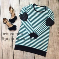 Stripe & Faux Leather Heart Patch Long Sleeve M ✨ Gorgeous jade heart patch top! Has loose fit. Ships next day!   Sizes S M L available! Tops Tunics