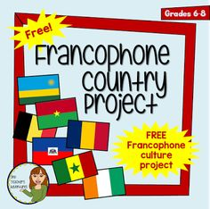 Free French Projects for Grade Core French (Fits New BC Curriculum) Free French Project - Francophone Country Project - BC New Curriculum Core French Middle School French Flashcards, French Worksheets, Teaching French Immersion, Pays Francophone, French Language Learning, Spanish Language, Learning Spanish, Dual Language, Learning Italian