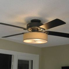Upgrade a ceiling light with a drum shade for under 15 pinterest low profile linen drum shade light kit for ceiling fan aloadofball Images