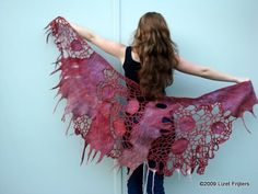 Love her work Shawl Crochet, Freeform Crochet, Nuno Felting, Needle Felting, Wool Yarn, Wool Felt, Nuno Felt Scarf, Felted Scarf, Hippy Chic