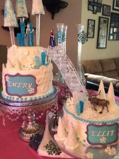 Disneys frozen Birthday Party cake!  See more party ideas at CatchMyParty.com!