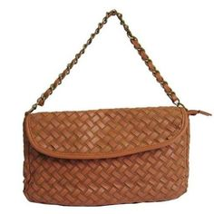 Womens Coffee PU Weaved Bag Chain Bag