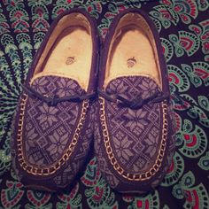 Adorable Blue Moccasins So cute! In great condition! Gently worn. So so comfy! Acorn Shoes Flats & Loafers
