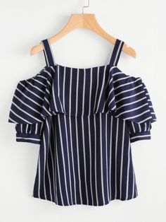 SheIn offers Open Shoulder Layered Striped Top & more to fit your fashionable needs. Trendy Outfits, Girl Outfits, Summer Outfits, Cute Outfits, Fashion Outfits, Womens Fashion, Cheap Fashion, Fashion Styles, Fashion Fashion