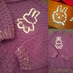 Christmas gift for my goddaughter! Daughter Of God, Purple Sweater, Bunny, Christmas Gifts, Sequins, Homemade, Sweaters, Rabbit, Holiday Gifts