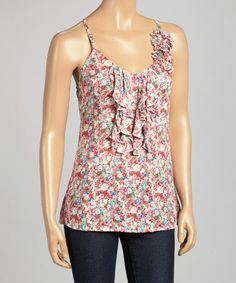 Another great find on #zulily! Pink Floral Ruffle Sleeveless Top #zulilyfinds