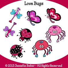 Love Bugs Clip Art © Jeanette Baker. Available at Jason's Online Classroom. $$