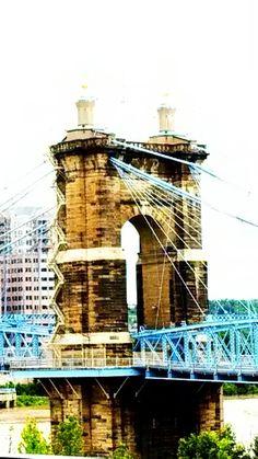 Cincinnati ~ Roebling suspension bridge. Built as a prototype for the Brooklyn bridge in NYC. A real beauty