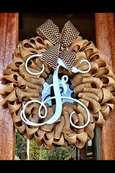 NEW Large Wooden Christmas Monogram Burlap Wreath 28x26 on Etsy, $85.00