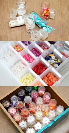 DIY Craft Room Ideas and Craft Room Organization Projects -  Sequin Storage  - Cool Ideas for Do It Yourself Craft Storage - fabric, paper, pens, creative tools, crafts supplies and sewing notions |   http://diyjoy.com/craft-room-organization