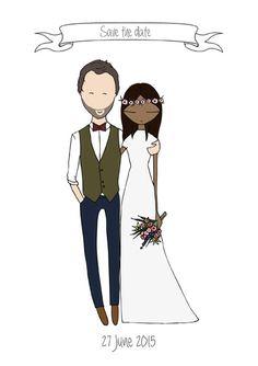 Save the date cards  Custom wedding illustration by Blanka Biernat
