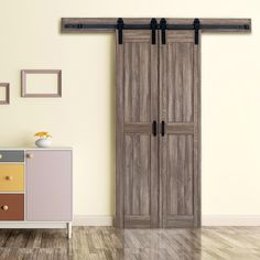 ReliaBilt Taupe Prefinished MDF Barn Door Hardware Included (Common: x Actual: x at Lowe's. These two biparting doors offer a space saving narrow door design and are pre-finished in a contemporary wood grain which requires no priming, Diy Interior Doors, Interior Sliding Barn Doors, Sliding Door Hardware, Sliding Doors, Indoor Barn Doors, Patio Doors, Gris Taupe, Barn Door Closet, Home Decoracion