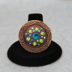 Bold Copper Blue Zircon Peridot and Emerald AB Ring by MoonBubbles, $19.00