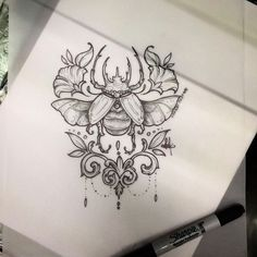 If only it was a honey bee Scarab Tattoo, Beetle Tattoo, Bug Tattoo, Insect Tattoo, Tattoo Sketches, Tattoo Drawings, Dibujos Tattoo, Tattoo Feminina, Tattoo Illustration