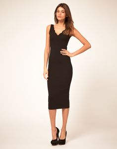 ASOS Scallop Midi Body-Conscious Dress // Love this style, but it needs to be worn with heels. I can't do that.