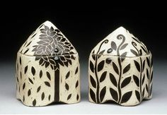 Karen Newgard- Square lidded- sgrafitto on porcelain- salt kilnSquare-Jars