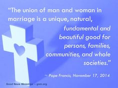 Let´s all seek to support and strengthen this union. Read more at: www.news.va/en/news/pope-francis-marriage-and-the-family-are-in-crisis