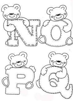 sweet little alphabet bears. Coloring Letters, Alphabet Coloring Pages, Colouring Pages, Printable Coloring, Coloring Books, Felt Patterns, Applique Patterns, Applique Designs, Embroidery Alphabet