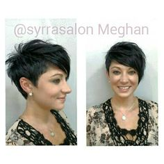 Long on one side, shaved or finger length on the other. Asymmetrical Pixie