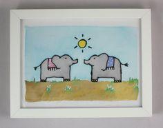 Elephants Wall Art  Animal Silk Painting Wall by NicolaDavisCrafts