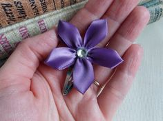 Ribbon Flower Hair Clip Floral Headband Purple lilac Little Girls Boutique Hair Accessory Toddlers Hair