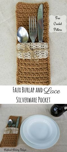 Crochet these Faux Burlap and Lace Silverware Pockets for your next country wedding or for your dining table! Easy pattern works up in less than an hour.